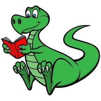 Dinosaur reading a book